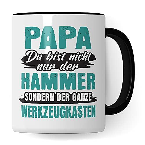 Tasse Papa, Vater Geschenk zum Vatertag, Kaffeetasse mit Papa Spruch: Nicht nur Hammer sondern der ganze Werkzeugkasten, Kaffeebecher als Vatertagsgeschenk & Geburtstag für Väter