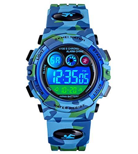 Reloj niños, Reloj para Niños Digital Sport Multifunción Cronógrafo LED 50M Impermeable Alarma Reloj analógico Camuflaje Militar para Niños con Banda De Silicona Azul