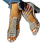 Minetom Sandalias Mujer Bombas Tacones De Bloque Tacones Altos Zapatos Verano Sandalias con Cremallera Fiesta Ocio Boda Noche Sandalias A Plateado 38 EU