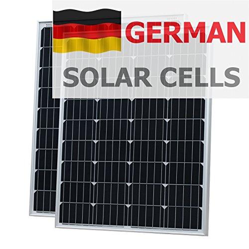200W (100W + 100W) Photonic Universe paneles solares fabricado en alemán células solares con 2x 5m Cable para autocaravanas, caravan, barco o cualquier 12V/24V de sistema de batería