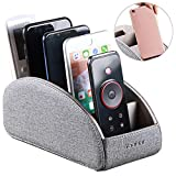 TV Remote Control Holder with 5 Compartments,Pu Leather Remote Caddy/Box/Tray Nightstand Desktop Storage Organizer Store DVD,Blu-Ray,Media Player,Heater Controllers and Makeup Office Supplies