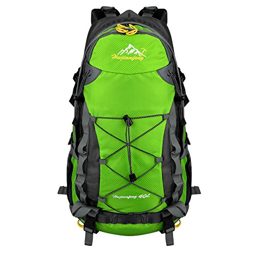 Vbiger Large Capacity Lightweight Travel Water Resistant Backpack/Mountaineering Hiking Daypack (Green 2, 40 L)