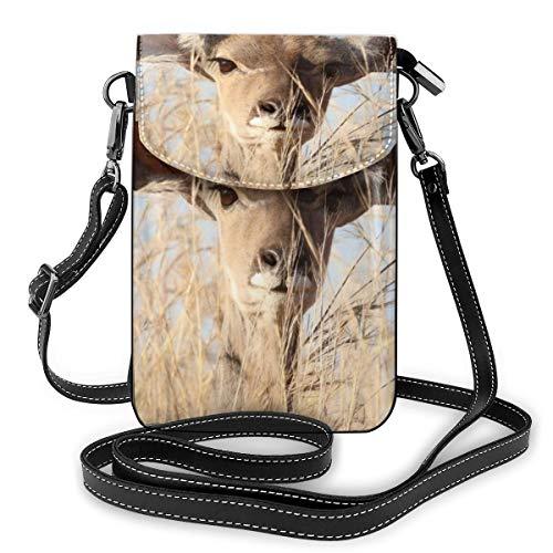 A Little Deer Shows His Head Kleine Umhängetasche für Handy, PU-Leder mit verstellbarem Riemen für den täglichen Gebrauch