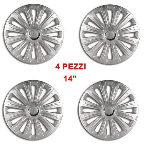Wieldoppen met diameter 14 inch, 4 stuks gelakt met ABS-materiaal, gemakkelijk te monteren, kleur Silver Trend, universeel inzetbaar.