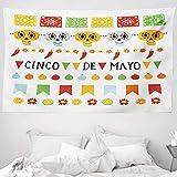 ABAKUHAUS Cinco de Mayo Wandteppich & Tagesdecke, Mexiko Folk Konzept, aus Weiches Mikrofaser Stoff Wand Dekoration Für Schlafzimmer, 230 x 140 cm, Mehrfarbig