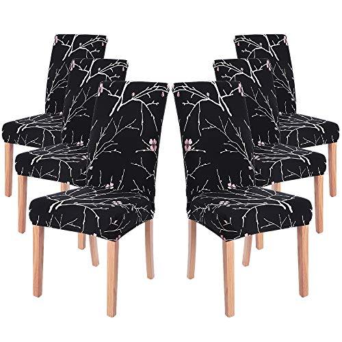 Fundas de Silla de Comedor Elásticas y Modernas,Extraíbles y Lavables, Fundas de Licra para sillas Altas 6 Piezas Fundas Protectoras para sillas (Flor Negro, Juegos de 6)