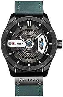 Curren 8301 Men's Watch with Quartz Leather Band Date Display Waterproof Watch - Green