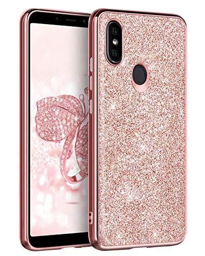 BENTOBEN Funda Compatible Xiaomi Mi A2, Funda Xiaomi Mi 6X Purpurina Carcasa Ultra Delgada Cover Brillante Resistente Silicona PC Protectora Anti-Golpes Fundas para Xiaomi Mi A2/6X 5.99'', Oro Rosa