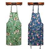 Women Kitchen Apron-2 Pack, Cotton Canvas Flower Apron, Floral Pattern Apron with Pockets for Women Chef...