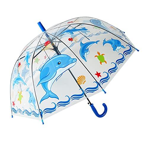 yui Paraguas tipo campana Apolo paraguas automático recto creativo dibujos animados lindo paraguas para niños luz transparente animal insectos playa paraguas (color: azul)