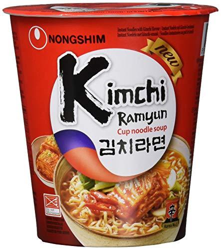 Nong Shim Instantnudeln Kimchi Ramyun – Koreanische Ramen Cup Suppe - schnelle Zubereitung – 12er Vorteilspack à 75g
