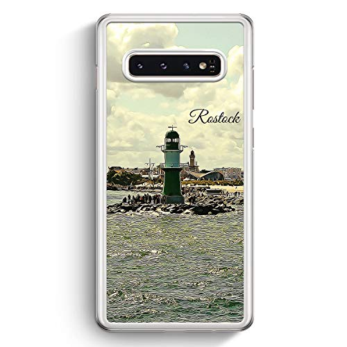Panorama Rostock - Hülle für Samsung Galaxy S10+ Plus - Motiv Design Skyline Silhouette Schön - Cover Hardcase Handyhülle Schutzhülle Case Schale