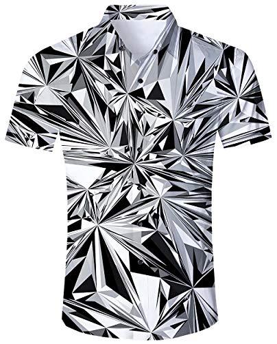ALISISTER Hawaiihemd Herren Lustig 3D Geometrie Muster Button Down Hawaii Hemd Bunt Kurzarm Sommer Strand Party Urlaubshemd Kleidung M