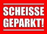 easydruck24de Haftnotizen Scheiße geparkt! für die Windschutzscheibe I rot I Block à 50 Blatt I DIN A7 I Klebezettel Verkehrssünder Parksünder I dv_604