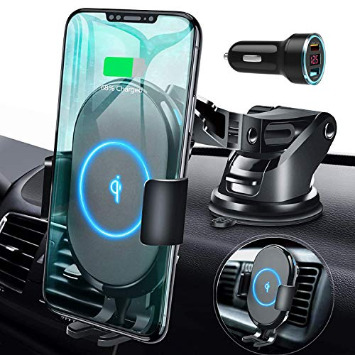 ABLEGRID Wireless Car Charger Mount, Automatic Clamping 15W/10W/7.5W Qi Fast Charging 5W Car Mount Holder Dashboard Compatible with iPhone 12 Pro Max/12Pro, Galaxy S20/S20+,LG G8 ThinQ/V50 and More