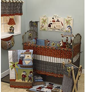 Cotton Tale Designs Pirates Cove 7Piece Bedding Set, Red, Black, White, Blue, Brown, Crib