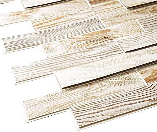 STM Dekor | PVC Paneele Gebleichte Eiche | 1 Platte | Holzoptik | Wandpaneele | Deckenpaneele | Tapete | Wanddeko | Wandaufkleber | Schaumstoff | Wasserfest | Wandaufkleber (BLEACHED OAK)