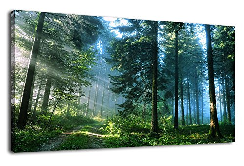 arteWOODS Green Forest Canvas Wall Art Living Room Wall Decor Large Nature Pictures Canvas Artwork Contemporary Wall Art Modern Landscape Pine Trees for Kitchen Office Home Decoration 20' x 40'