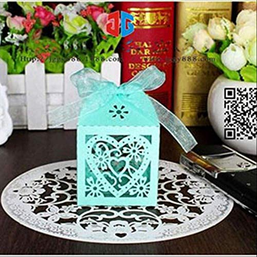 Geschenkdoos BLTLYX 10 stks/set Love Heart Laser Cut Hollow Carriage Favors Gifts Candy Dozen Met Lint Baby Shower Bruiloft Feestartikelen 5x5x8cm Blauw