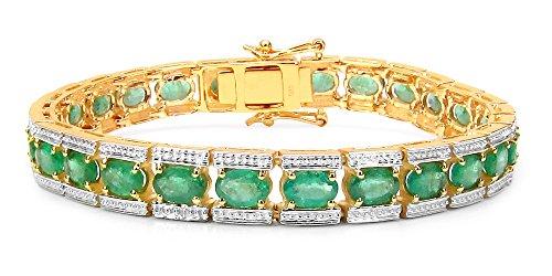 Jaipuri.Instyle by Tricolour - Bracciale da donna in oro giallo 14 carati (585) - vere pietre preziose: smeraldo - 8,1 mm - 11,7 ct