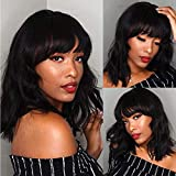 Klaiyi Hair Synthetic Wigs Bob Curly Wig with Bangs Natural Looking Heat Resistant Fiber Hair Wigs for Women (12 inch, black)