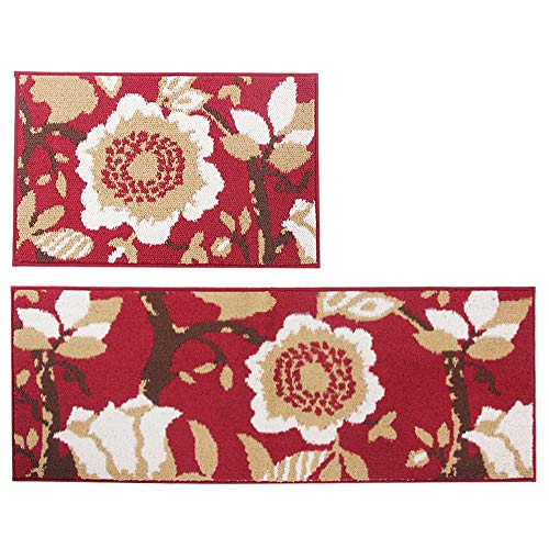 "MustMat 2 Pieces Non Skid Kitchen Rug Set (18""x27""+18""x47"") Flower Design Area Rug Perfectly in Front of Kitchen Sink and Dishwasher (B) Michigan"