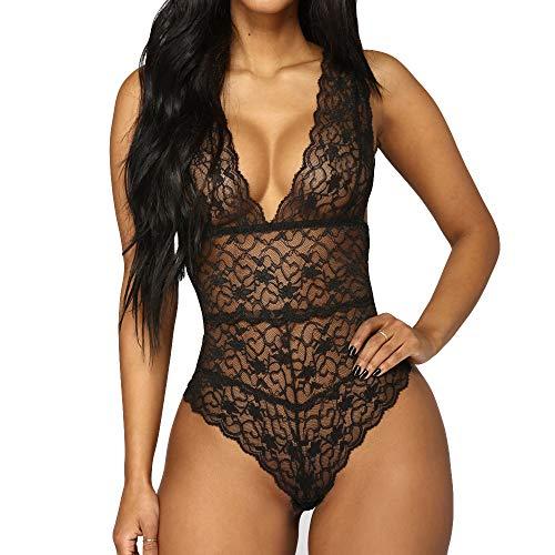 Conjunto Lencería Mujer Erotica Pijama Enteros Mujer Ropa Interior Mujer Sexy Conjuntos Body Encaje Mujer Vestido Sexy Negro Natividad del Señor Primavera Verano Otoño