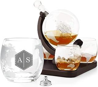 Murrano Whisky Karaffe mit Gravur - Globus mit Schiff, 850 ml - 4er Whiskygläser Set - Whisky Dekanter - Personalisiert - Initialien