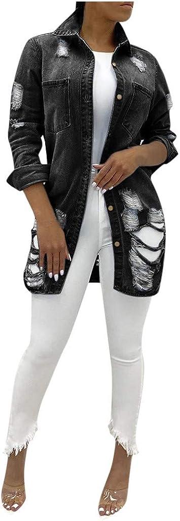 WUAI-Women Denim Jackets Lapel Button Down Ripped Hole Jeans Motorcycle Trucker Jackets Outerwear
