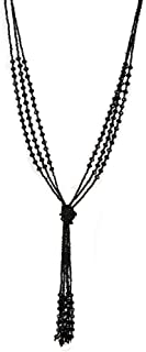Vintage Style Charcoal Black Long Multitier Beaded Womens Necklace Jewelry (Long - 31