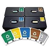 Haberdashery Online 5 Etiquetas Adhesivas Reciclaje Basura. Pegatinas para la gestión de residuos. Cada una de 4,8 x 4,8 cm. Modelo XS (XS)