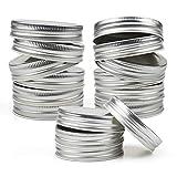 Tebery 50 Pack Regular Mouth Mason Jar Lids Silver Canning Jar Lid Leak Proof and Secure