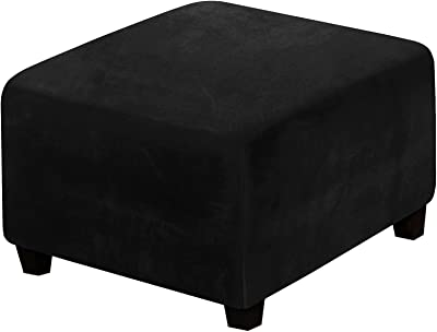 GAWEKIQE High-Stretch Ottoman Slipcovers Footstool Slipcovers Square Velvet Fabric for Kids Pets Removable Washable Furniture Protector for Bedroom Living Room (Black)