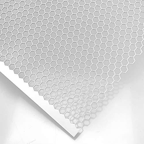 Stahl Lochblech HV6-6,7 Farbig Weiß RAL 9016 Stahl 1,5 mm dick Hexagonal Gitter Zuschnitt nach Maß (1000 mm x 550 mm)
