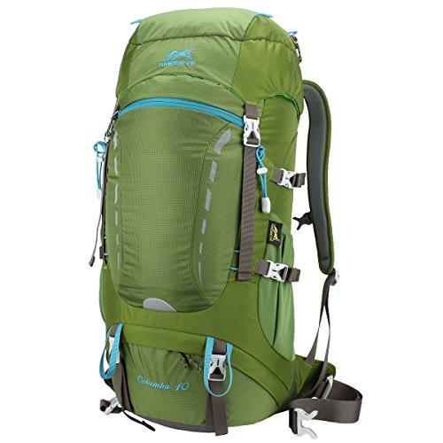 Eshow 40L Mochilas de Senderismo Al Aire Libre de Nailon Impermeable Mochilas Montaña Mochila de Viaje Para Hombre y Mujer Color Verde Armado