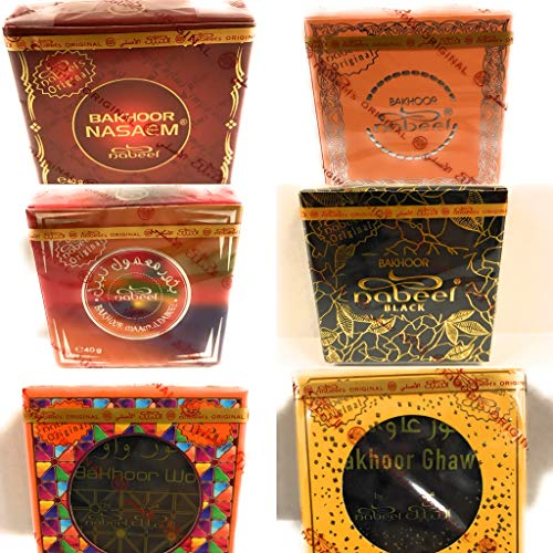 Nabeel Triple Traders 6 Packs Variety Mix Incense Bakhoor Perfumes Touch Me, Nasaem Maamul, Wow, Black, and Ghawi - Oudh from UAE