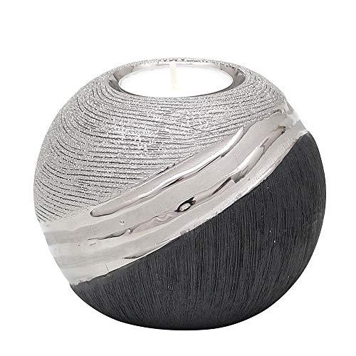 Edler moderner Deko Designer Keramik Teelichthalter in Silber-grau, ca. 10 x 10 x 9 cm.