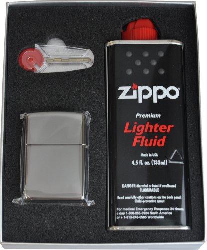 Zippo【ジッポー】 ライター #150 ブラックアイス ギフトボックスセット(オイル小・石付き)