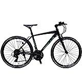 SPEAR (スペア) クロスバイク 700c アルミフレーム シマノ製 21段変速 SPCA-7021 ディレーラー Tourney(ターニー)1年保証付 適用身長160㎝以上 (マットブラック)
