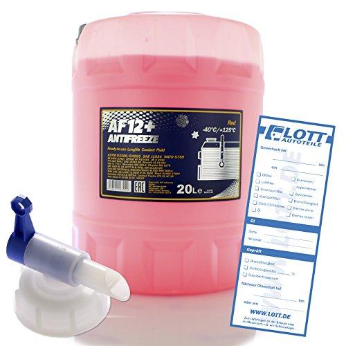 MANNOL 20L Frostschutz Longlife Kühlerfrostschutz Kühlmittel Fertiggemisch rot AF12+ bis - 40°C + Auslaufhahn