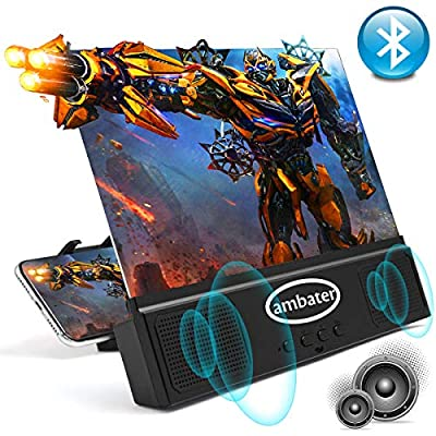 Phone Screen Amplifier with Bluetooth Speaker Anti-Blue Light 3D HD Cell Phone Screen Magnifier Projector with Foldable and Adjustable Stands Compatible with iPhone and Android All Smartphones- Black by Ambater