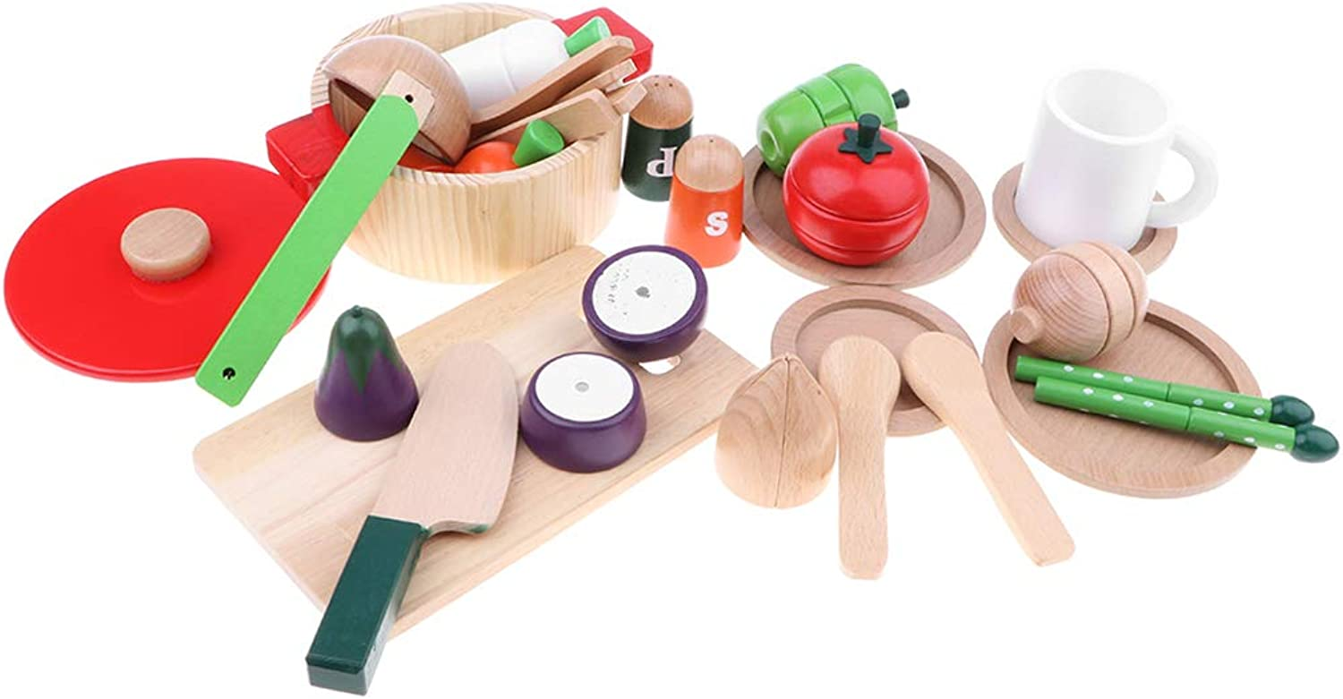 Fityle Kids Cutting Vegetables Toy Set  Wooden Play Food Kitchen Accessory Pack of 22