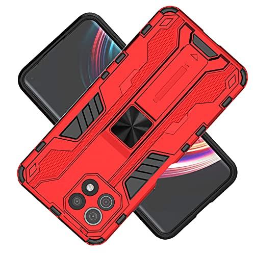 Tianyan Funda Xiaomi Mi 11 Lite 5G,Anti-Shock 360 Grados con Soporte Carcasa [Dual Layer 2in1 Hard PC y Silicona TPU Tough Armor Case] protección Funda para Xiaomi Mi 11 Lite,Rojo