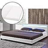 ArtLife LED Polsterbett Paris 180 × 200 cm mit Matratze und Lattenrost – Kunstleder Bezug & Holz Gestell – weiß – modern & stabil   Doppelbett Bett