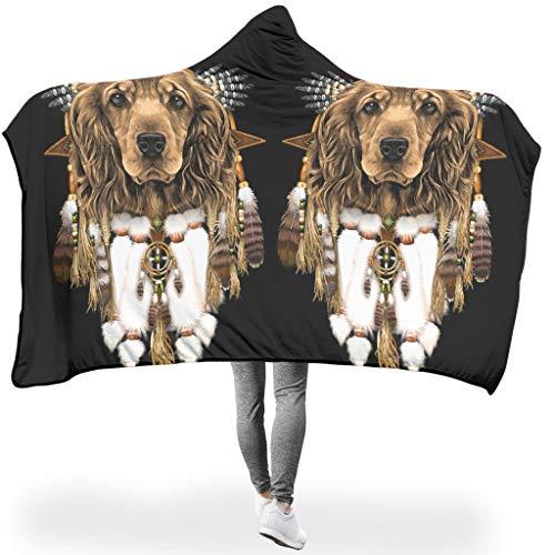 Muerlinanajj Cocker Spaniel Dog Dreamcatcher mit Kapuze Kapuzendeckenwurf, superweiches Flanell tragbare Decken für Winter White 130x150cm