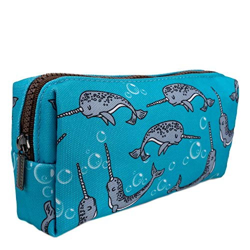 LParkin Cute Narwhal Canvas Pencil Case Pen Bag Pouch Stationary Case Gadget Makeup Cosmetic Bag Student Box(Blue)
