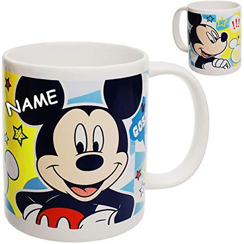 alles-meine.de GmbH großer - Trinkbecher / Henkeltasse / Kaffeetasse - Disney - Mickey Mouse - inkl. Name - 350 ml - Porzellan / Keramik - Mikrowellen geeignet - spülmaschinenfes..
