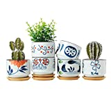 T4U 3 Inch Ceramic Succulent Planter Pots With Bamboo Tray Set Of 6, Japanese Style Porcelain Handicraft As Gift For Mom Sister Aunt Best For Home Office Restaurant Table Desk Window Sill Decoration
