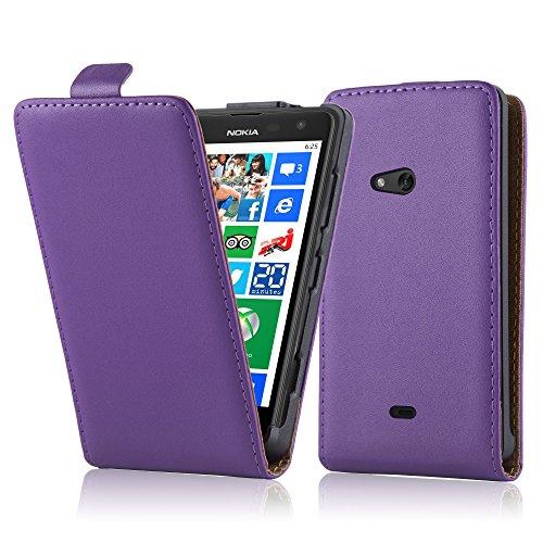 Cadorabo Hülle für Nokia Lumia 625 - Hülle in Flieder VIOLETT – Handyhülle aus glattem Kunstleder im Flip Design - Hülle Cover Schutzhülle Etui Tasche