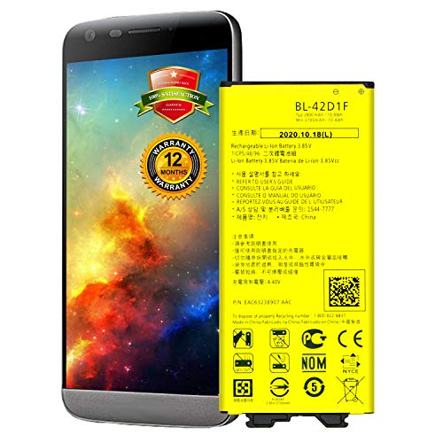 LG G5 Battery, LG BL-42D1F Battery for VS987 Verizon, H820 AT&T, H830 T-Mobile, LS992 Sprint, US992, H845, Dual H850, H858, H860